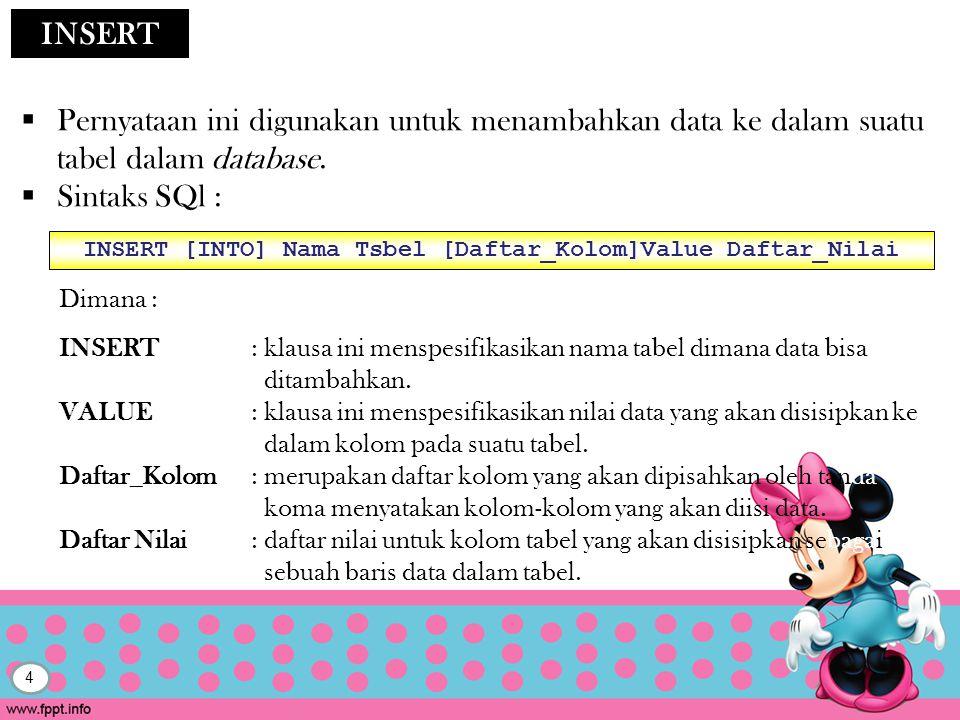 INSERT [INTO] Nama Tsbel [Daftar_Kolom]Value Daftar_Nilai